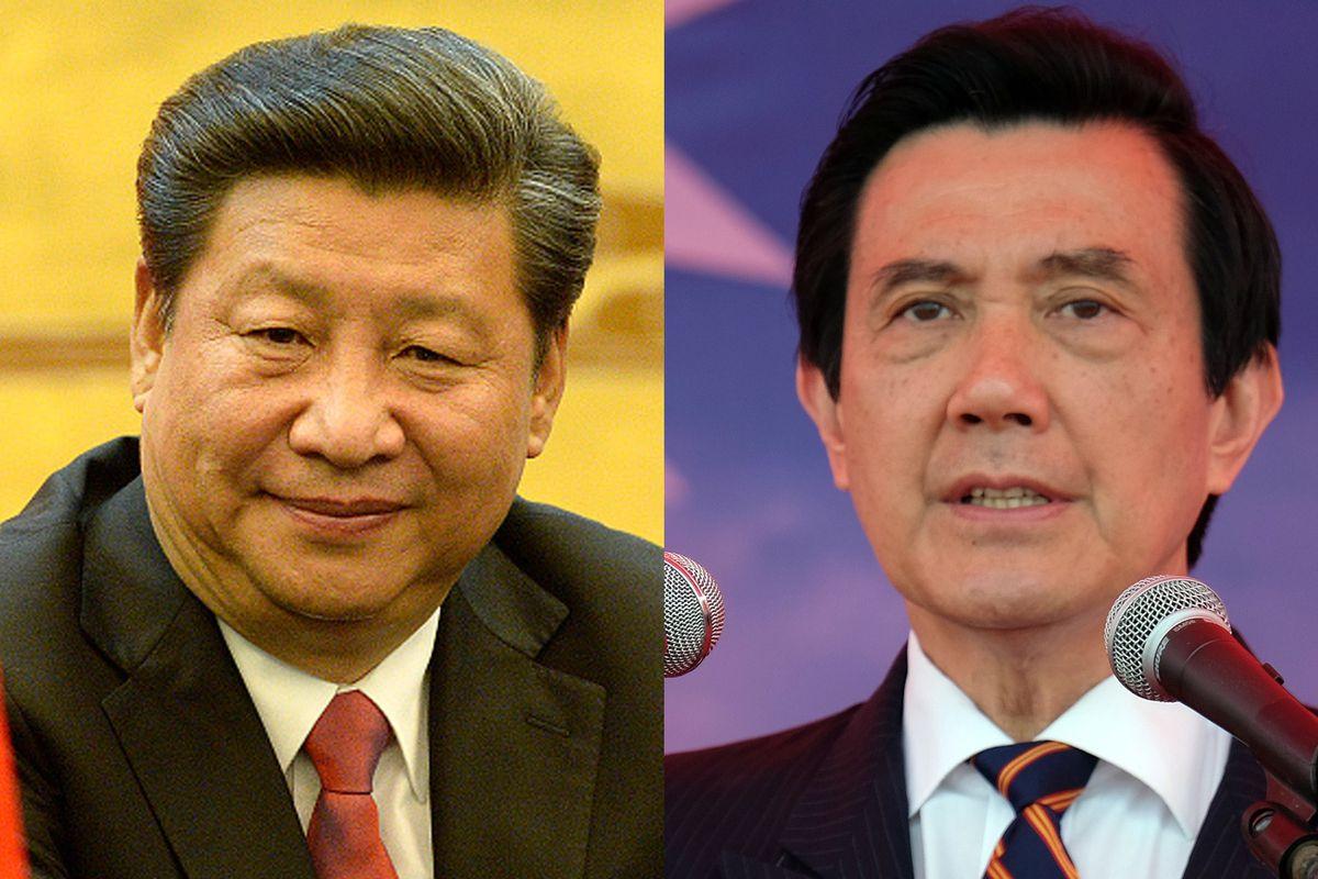 Chinese leader Xi Jinping and Taiwanese President Ma Ying-jeou.