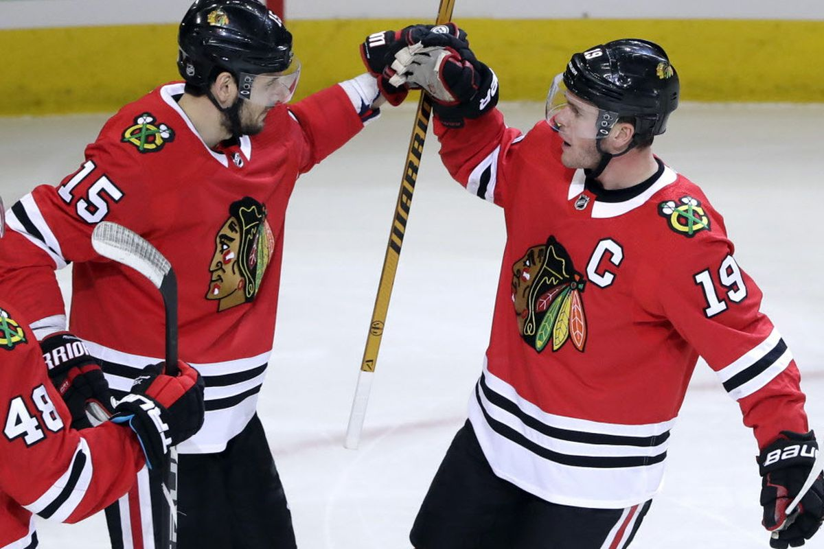8cfbd22e199 Artem Anisimov celebrates his first-period goal with Jonathan Toews (19) on  Sunday at the United Center. (Nam Y. Huh/AP). The Blackhawks have little to  play ...