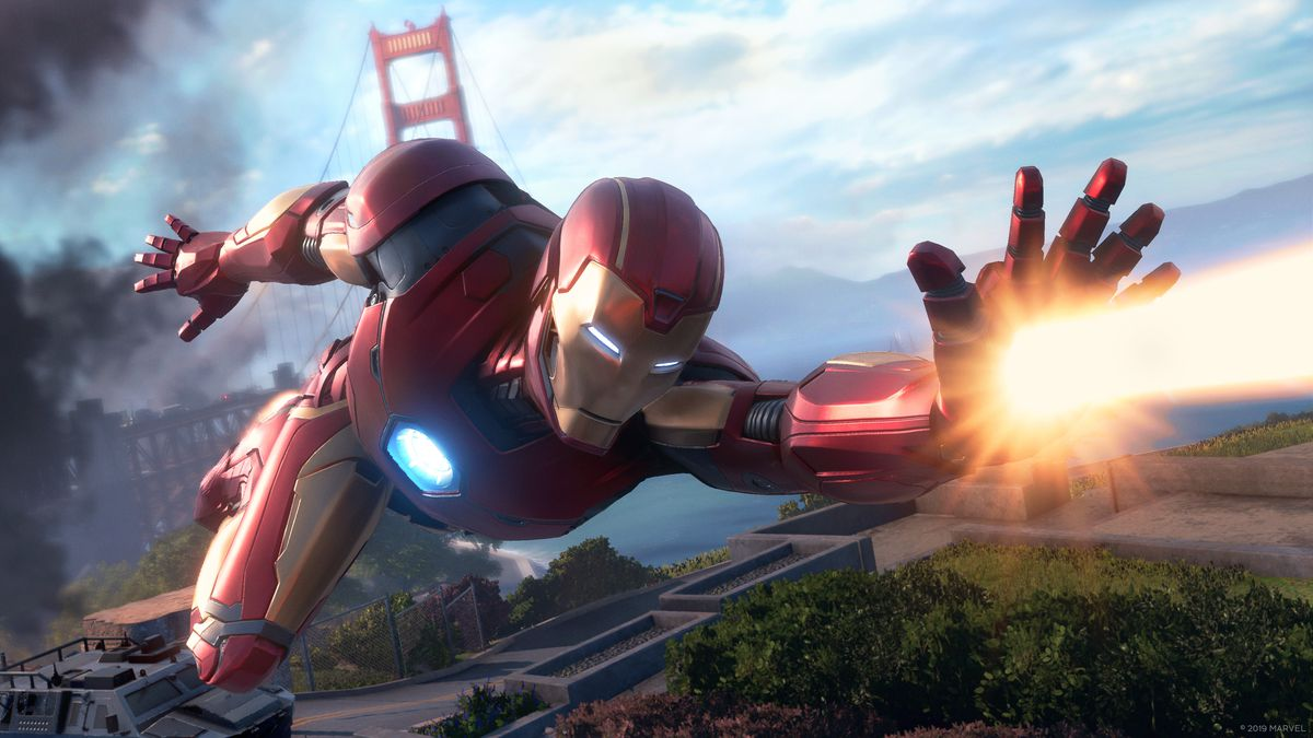 Iron Man flying through the air and blasting one of his hand cannons from Marvel's Avengers, a game by Crystal Dynamics and published by Square Enix.