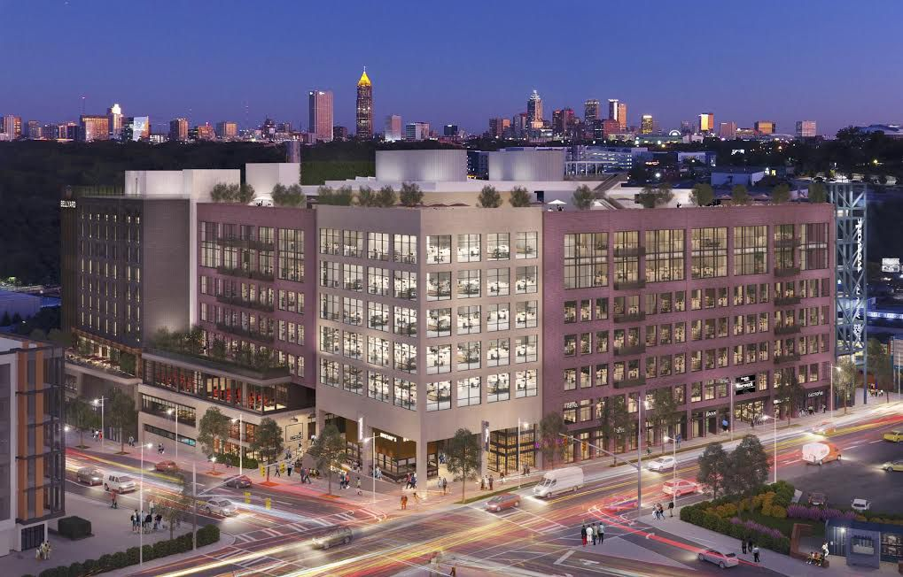 A six-story building in a rendering with the City of Atlanta behind it.