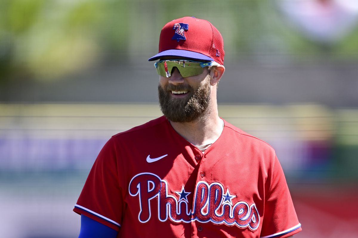 Bryce Harper #3 of the Philadelphia Phillies looks on prior to the game between the New York Yankees and the Philadelphia Phillies during a spring training game at Philadelphia Phillies Spring Training Facility on March 11, 2021 in Clearwater, Florida.