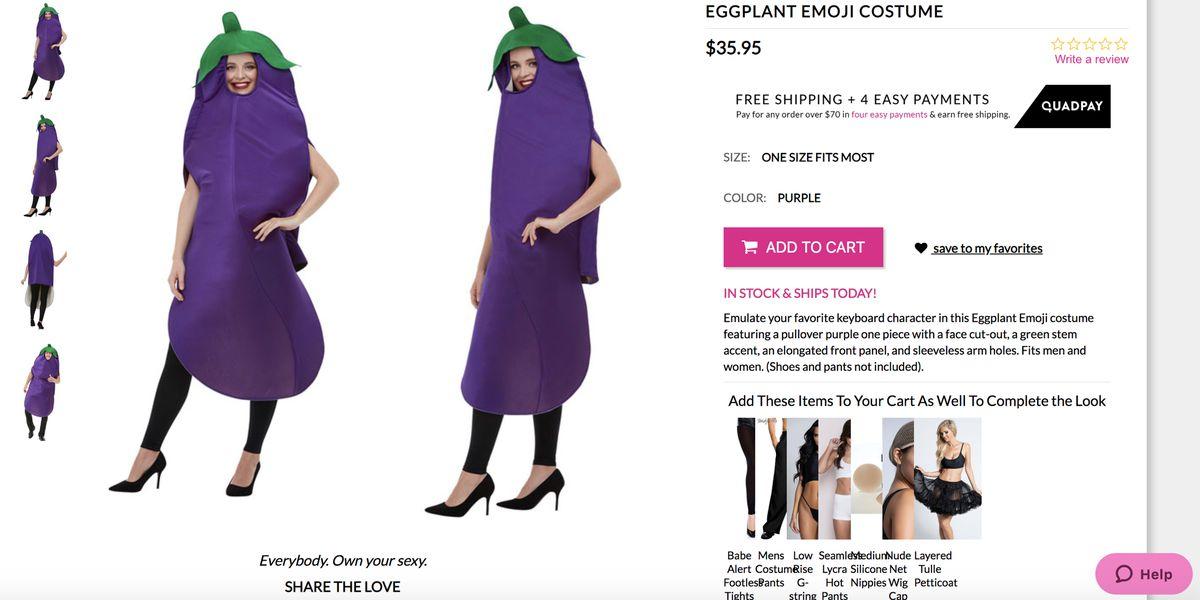 A woman dressed up like a giant eggplant.
