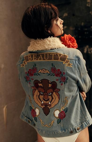 MinkPink jean jacket with Beauty and the Beast themed embroidery