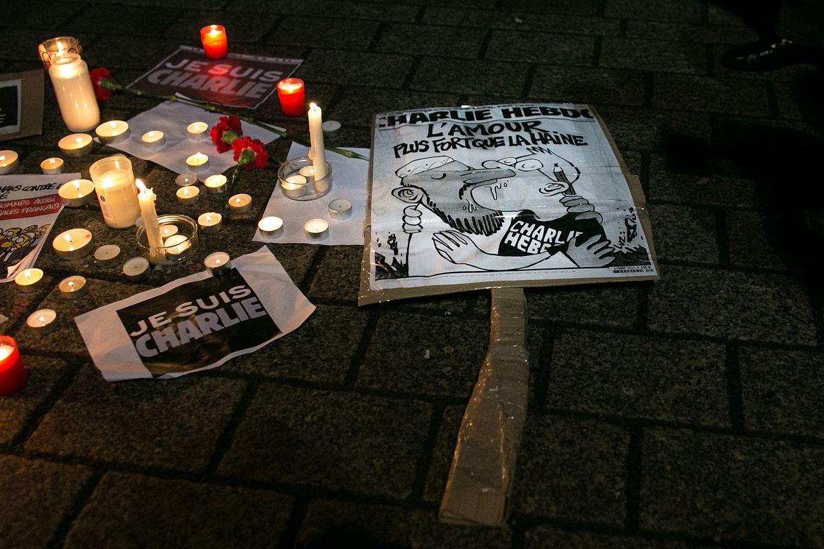 A vigil for those killed in the Charlie Hebdo terrorist attack.