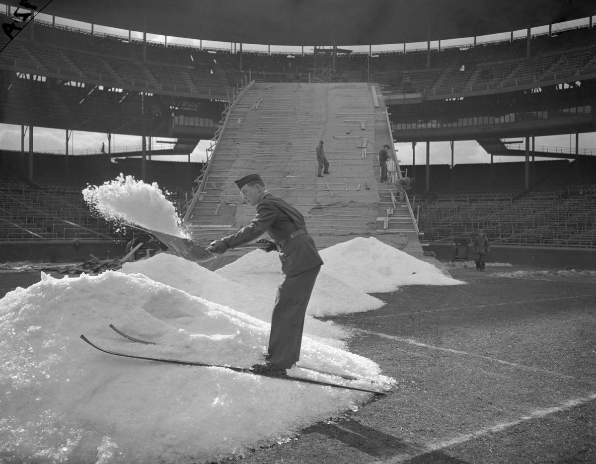 Norge Ski Club's ski jump over home plate at Wrigley Field in 1944.