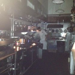 """Chef Diego cooked pasta by candlelight at Macelleria in the Meatpacking District [Photo: Macelleria via <a href=""""http://www.facebook.com/photo.php?fbid=446269772076439&set=pb.111764125527007.-2207520000.1351982554&type=3&theater"""">Facebook</a>]"""