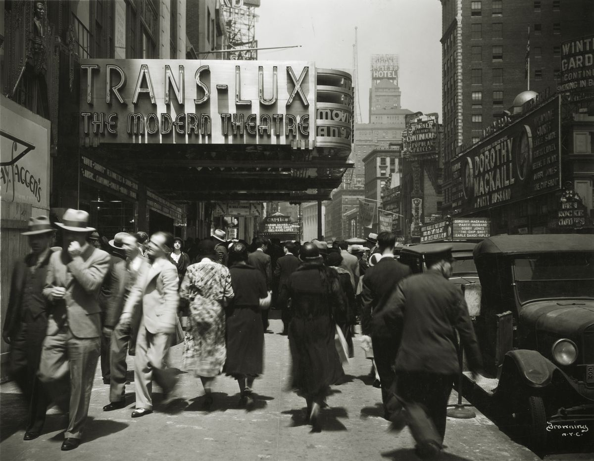 The Trans-Lux Theatre in Broadway in New York City in 1929.
