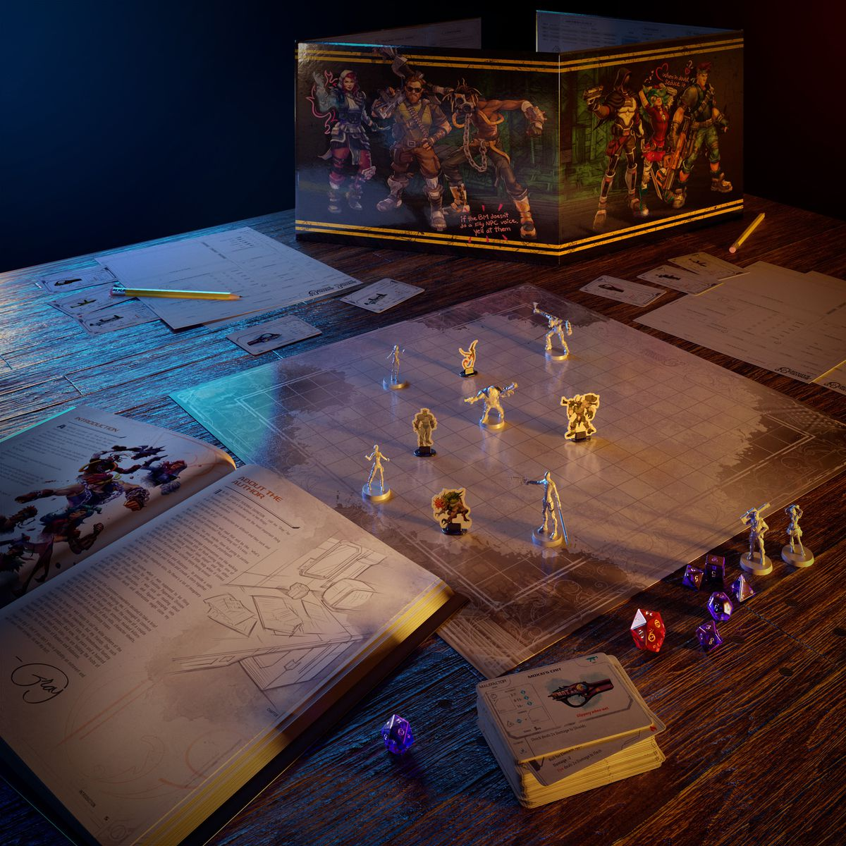 A book, Bunker Master's screen, and dice with custom miniatures on a table.
