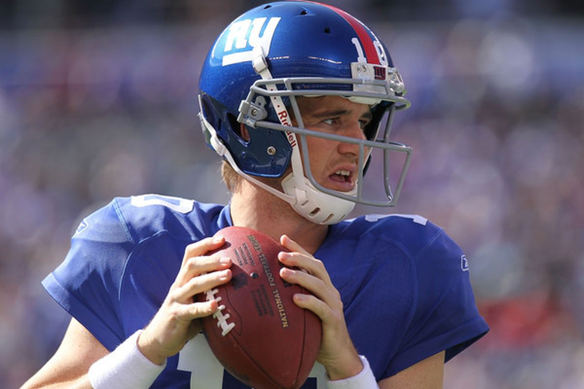 Eli Manning #10 of the New York Giants makes our top five for Week 8 fantasy quarterbacks.  (Photo by Nick Laham/Getty Images)