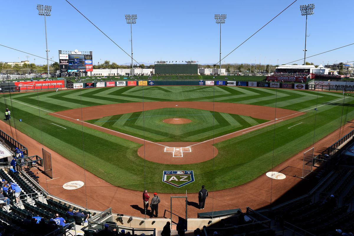 An overall view of the 2018 Cactus League logo at Surprise Stadium prior to the spring training game between the Los Angeles Dodgers and Kansas City Royals on February 24, 2018 in Surprise, Arizona.