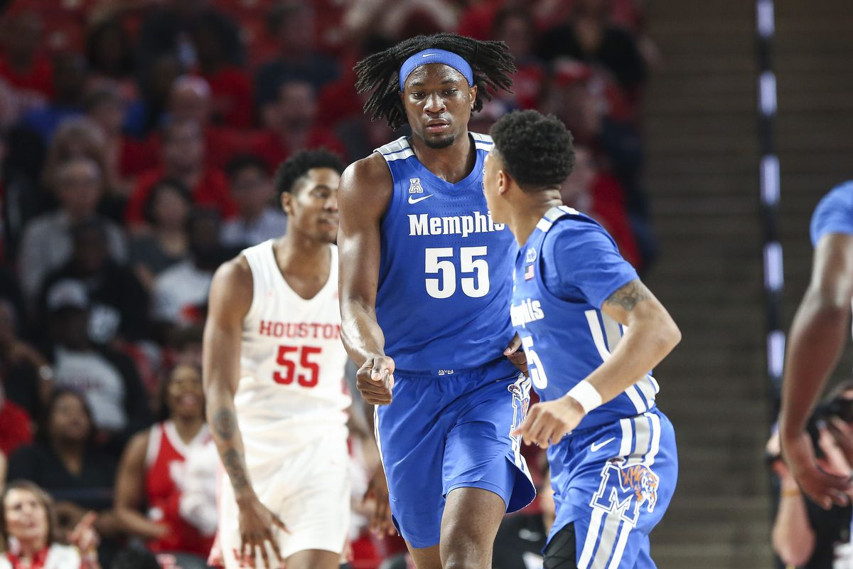 Memphis Tigers forward Precious Achiuwa reacts after scoring a basket during the first half against the Houston Cougars at Fertitta Center.