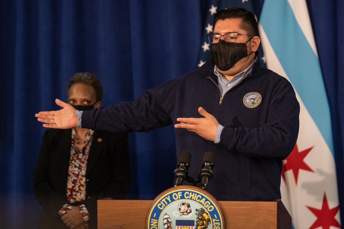 Ald. Carlos Ramirez-Rosa (35th) speaks during a press conference at City Hall in the Loop, Tuesday morning, Feb. 23, 2021, where Chicago Mayor Lori Lightfoot signed a revised version of the Welcoming City Ordinance.