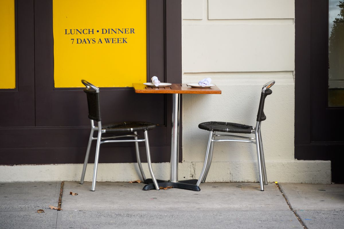 A table sits empty outside a restaurant on the Upper West Side on December 11, 2020 in New York City. Governor Andrew Cuomo announced that indoor dining would close on Monday December 14th due to an ongoing spike in COIVD-19 cases.