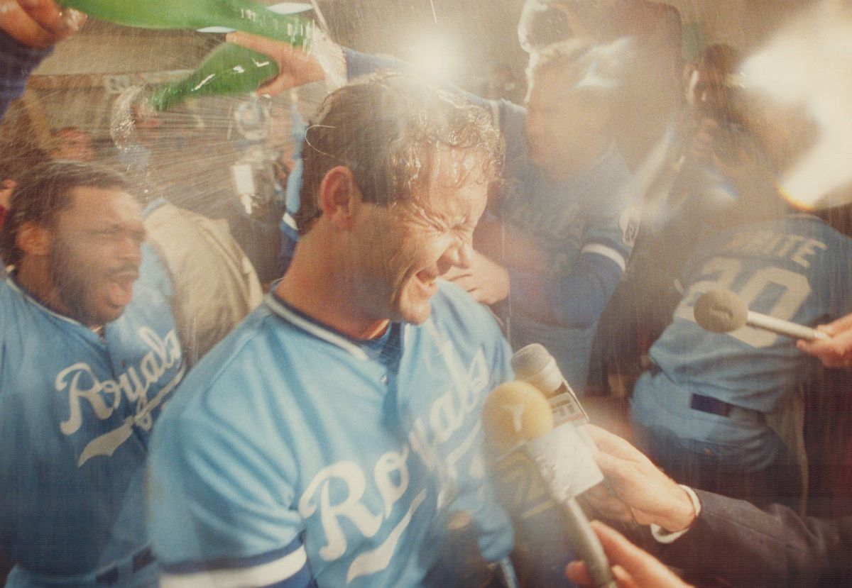 Doused in glory suds: Royals' George Brett, who was named most valuable player in the American Leagu