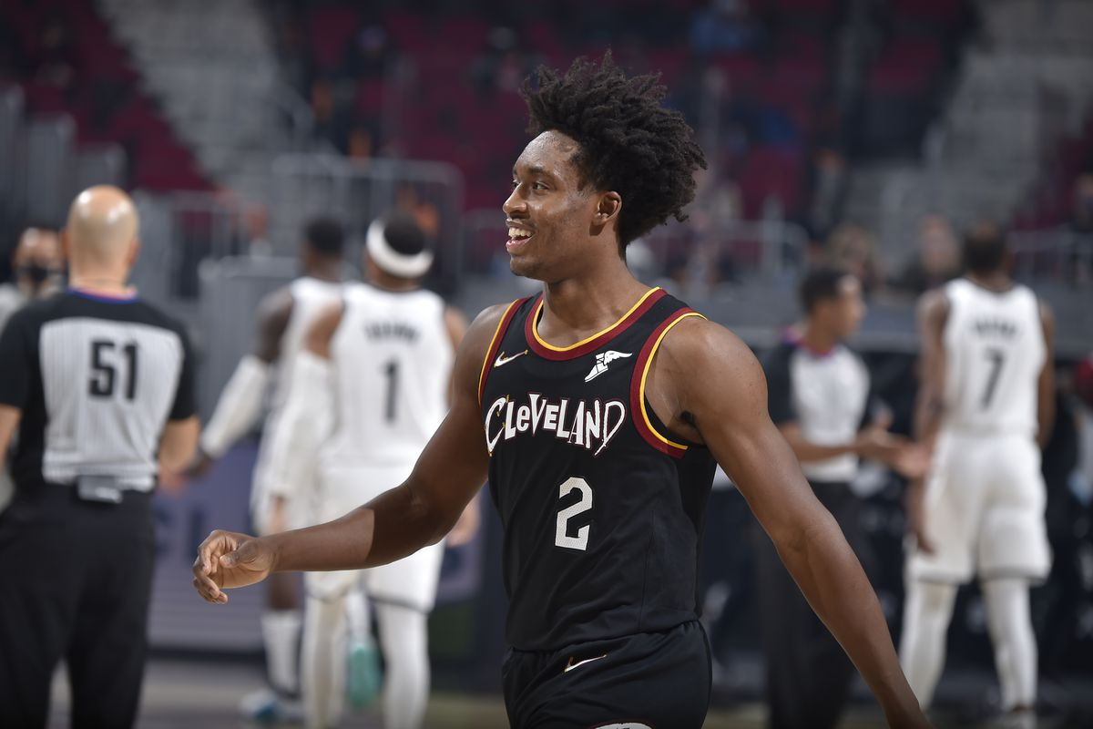 Collin Sexton of the Cleveland Cavaliers smiles during the game against the Brooklyn Nets on January 20, 2021 at Rocket Mortgage FieldHouse in Cleveland, Ohio.