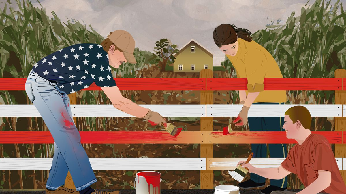 An illustration of a family in the Midwest painting a fence in the colors of the American flag.