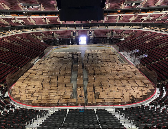 The United Center, pictured last April, when it served as a food storage site.