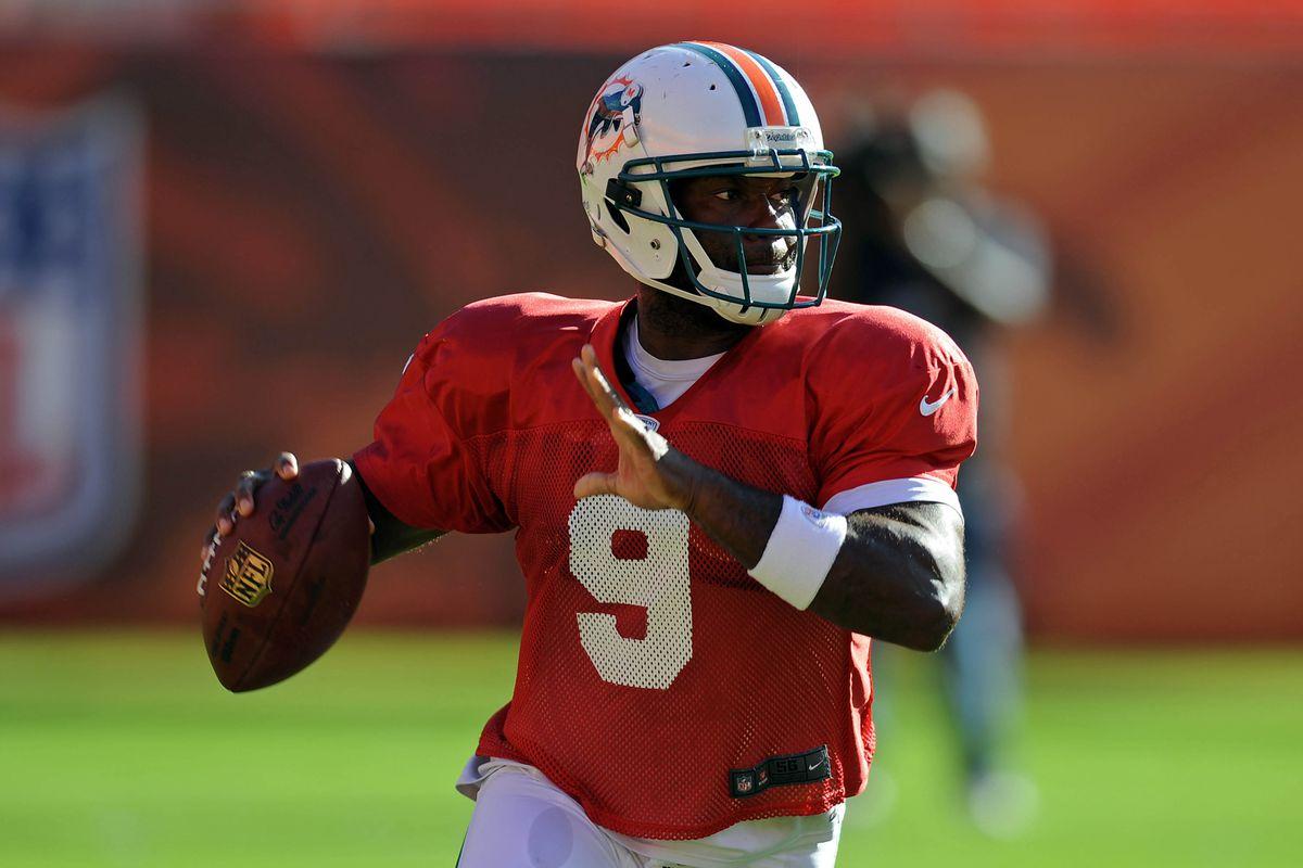 Aug. 4, 2012;  Miami, FL, USA; Miami Dolphins quarterback David Garrard (9) throws during a scrimmage at Sun Life Stadium. Mandatory Credit: Steve Mitchell-US PRESSWIRE