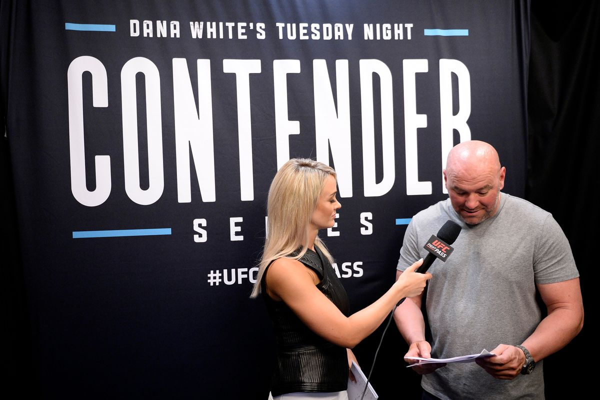UFC president Dana White announces the fighters receiving UFC contracts during Dana White's Tuesday Night Contender Series at the TUF Gym on July 24, 2018 in Las Vegas, Nevada.