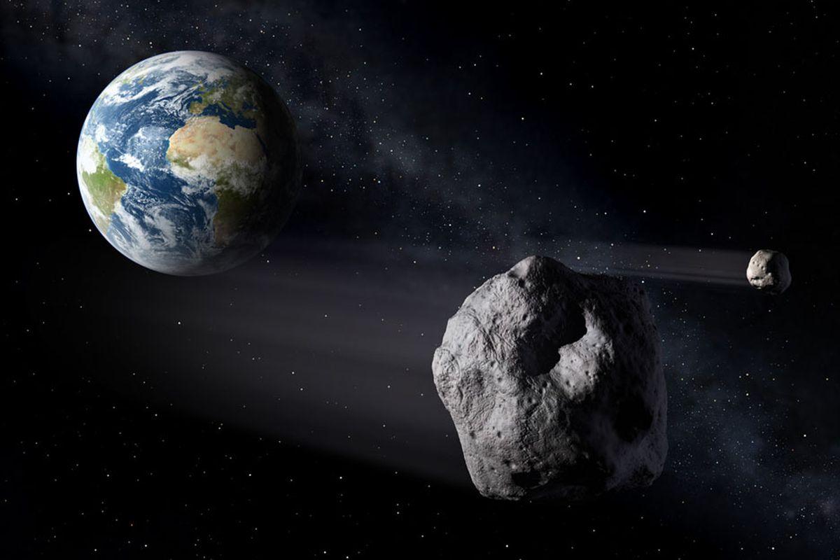 An artist's rendering of an asteroid.