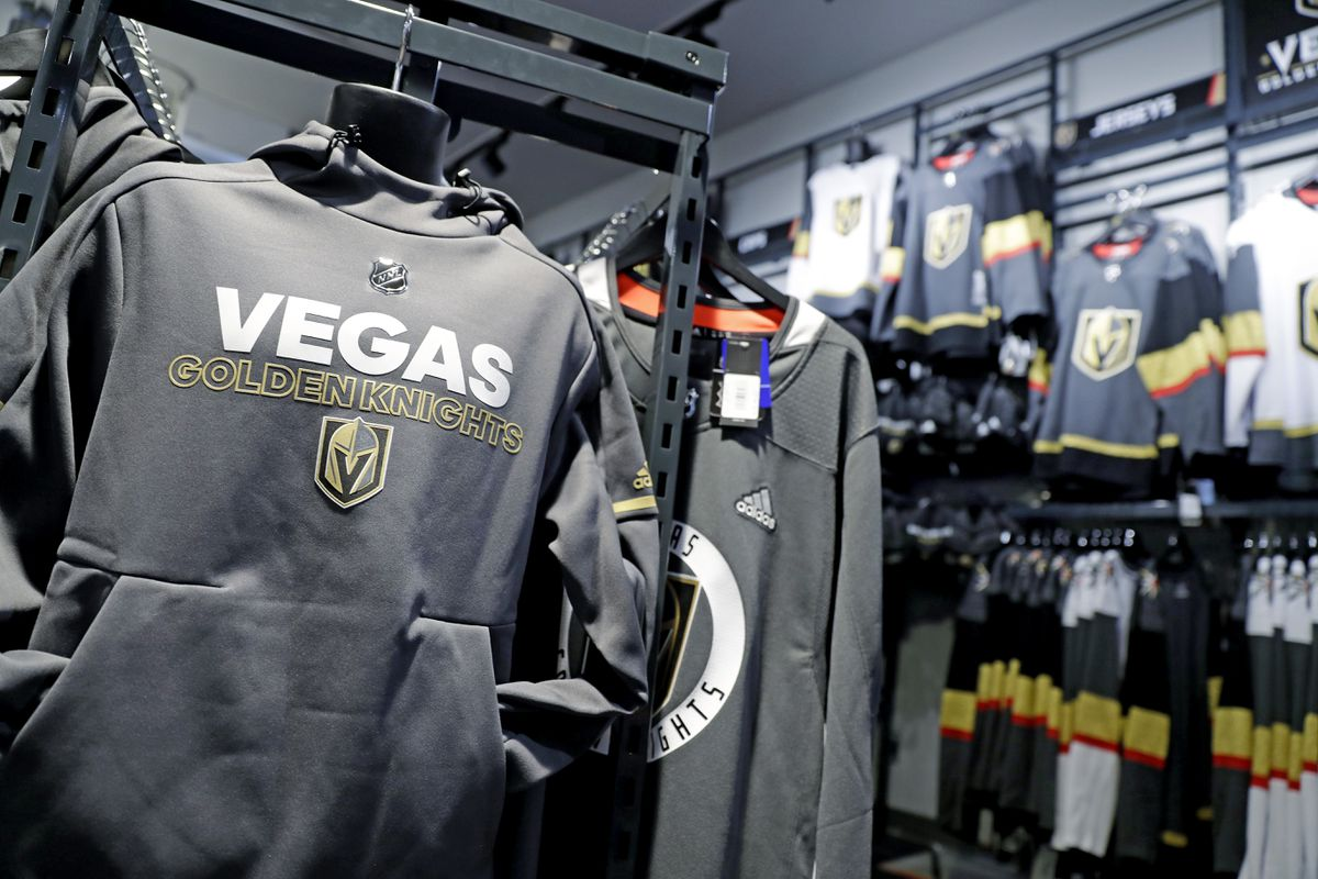 A Golden Knights sweatshirt hanging in the team store