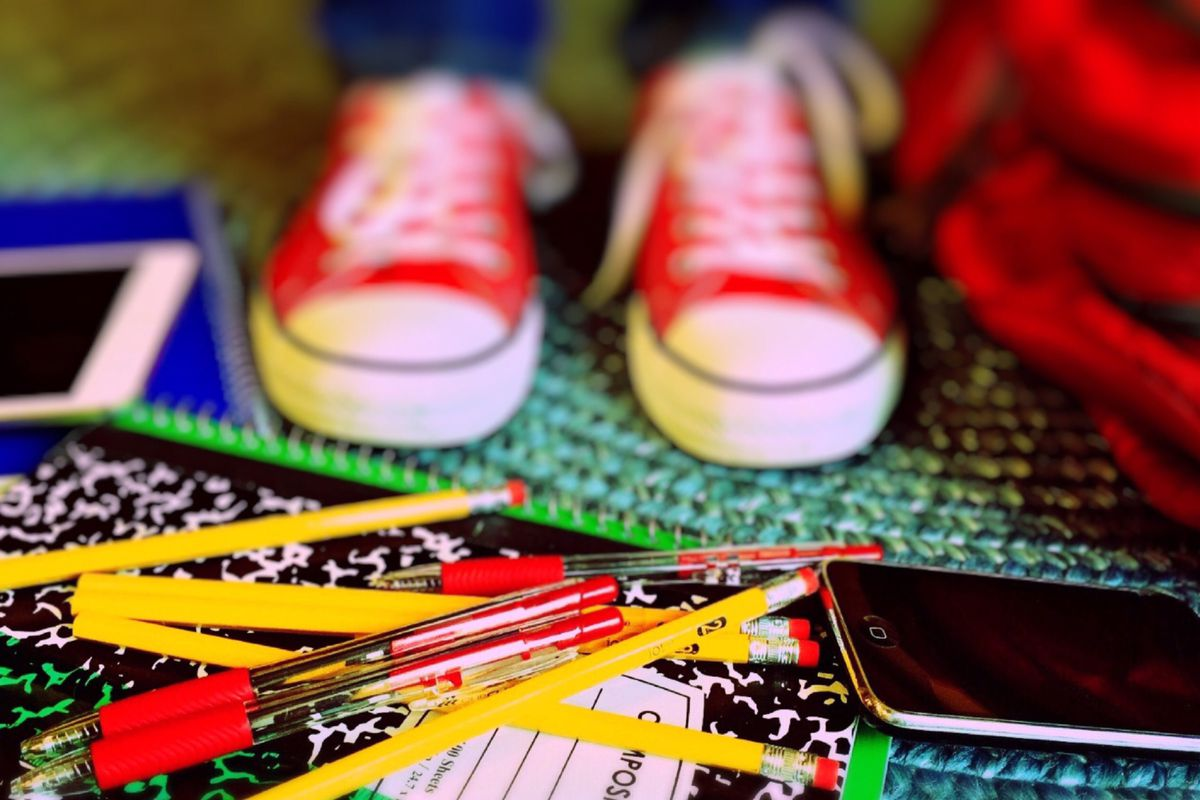 Shoes and school supplies