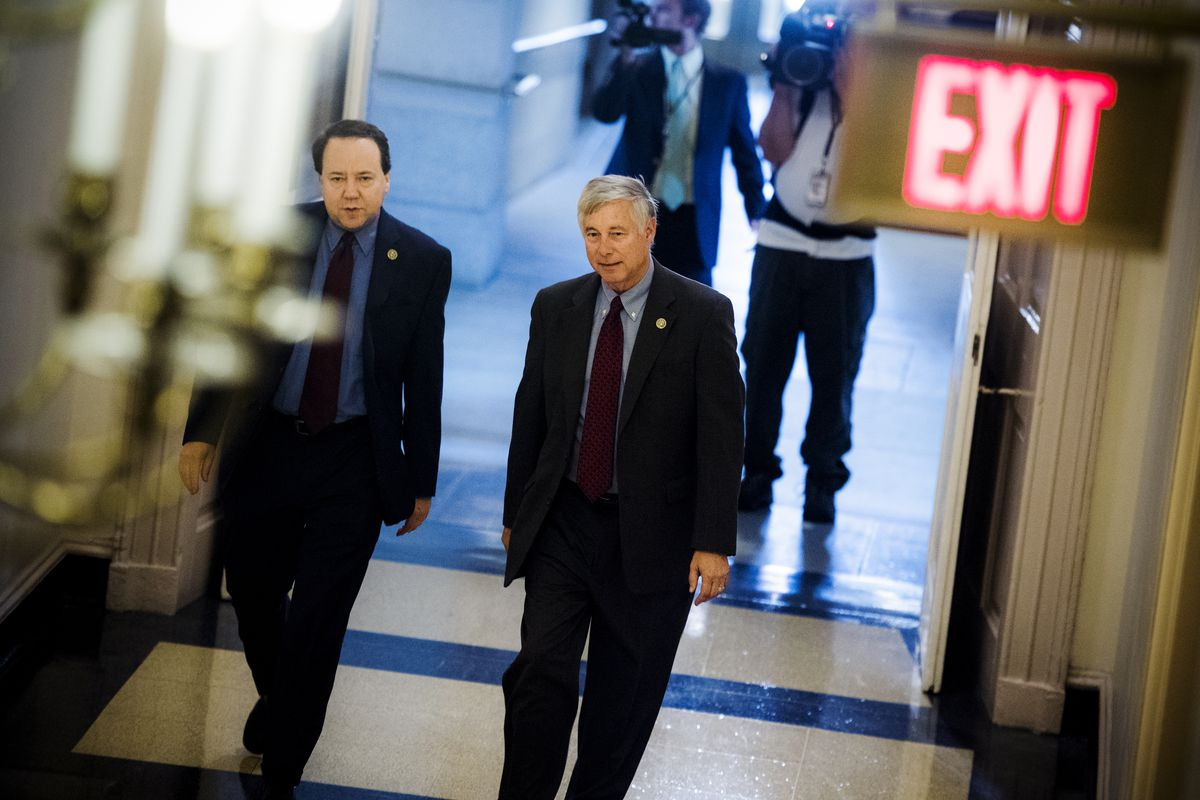 Pat Tiberi (R-Ohio), left, with Rep. Fred Upton (R-Mich.) leaving a meeting of the House Republican Conference in the Capitol on July 28, 2017.