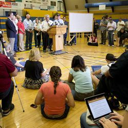 Prescott Fire Chief Dan Fraijo answers questions during a news conference, Monday, July 1, 2013, in Prescott, Ariz. An out-of-control blaze overtook the elite group of firefighters trained to battle the fiercest wildfires, killing 19 members as they tried to protect themselves from the flames under fire-resistant shields.   (AP Photo/Julie Jacobson)