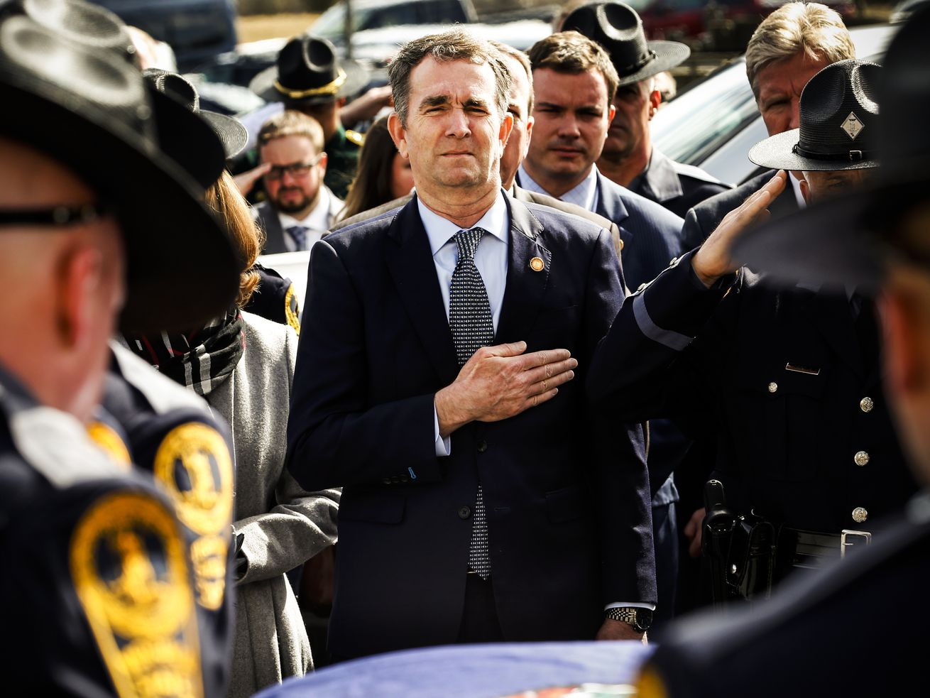 Virginia Gov. Ralph Northam seen during the funeral of Virginia State Trooper Lucas B. Dowell in Chilhowie, Virginia, on February 9, 2019.