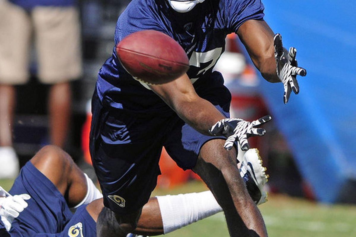 June 12, 2012; St. Louis, MO, USA; St. Louis Rams wide receiver Brian Quick (83) catches during minicamp at ContinuityX Training Center. Mandatory Credit: Jeff Curry-US PRESSWIRE