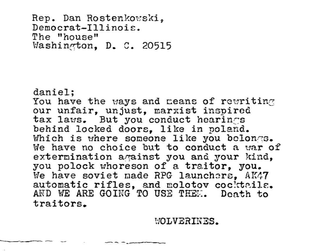 A threat sent to then-U.S. Rep. Dan Rostenkowski.