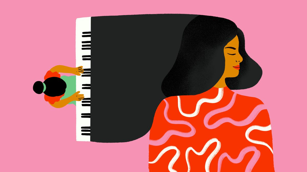 An illustration of a woman playing piano and a larger figure in repose.