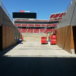 Walking in through where the 49ers might come out for pre-game introductions