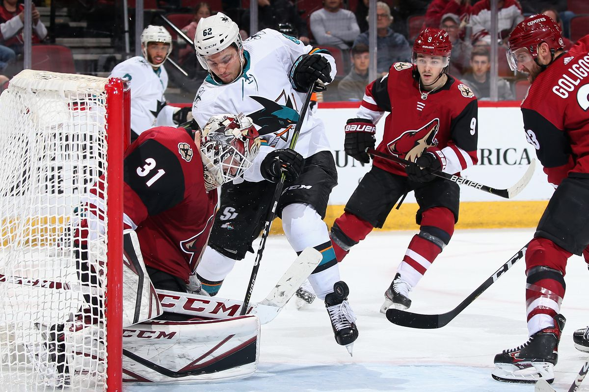 Kevin Labanc #62 of the San Jose Sharks skates in on goaltender Adin Hill #31 of the Arizona Coyotes as he attempts to deflect the puck during the third period of the NHL game at Gila River Arena on January 14, 2020 in Glendale, Arizona. The Coyotes defeated the Sharks 6-3.