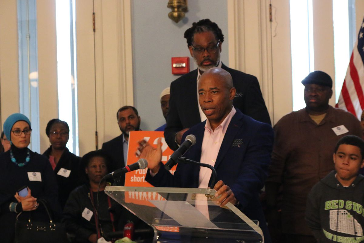 Brooklyn Borough President Eric Adams speaks at a press conference related to charter school security funding.