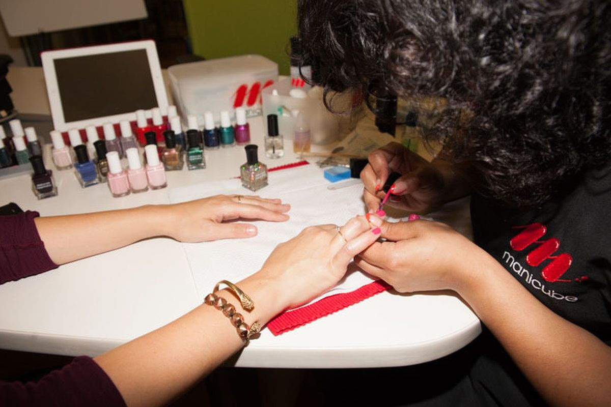 """Photo by <a href=""""http://peladopelado.com/"""">Driely S.</a> for <a href=""""http://racked.com/archives/2013/10/14/inoffice-manicures-are-coming-to-a-conference-room-near-you.php"""">Racked National</a>"""