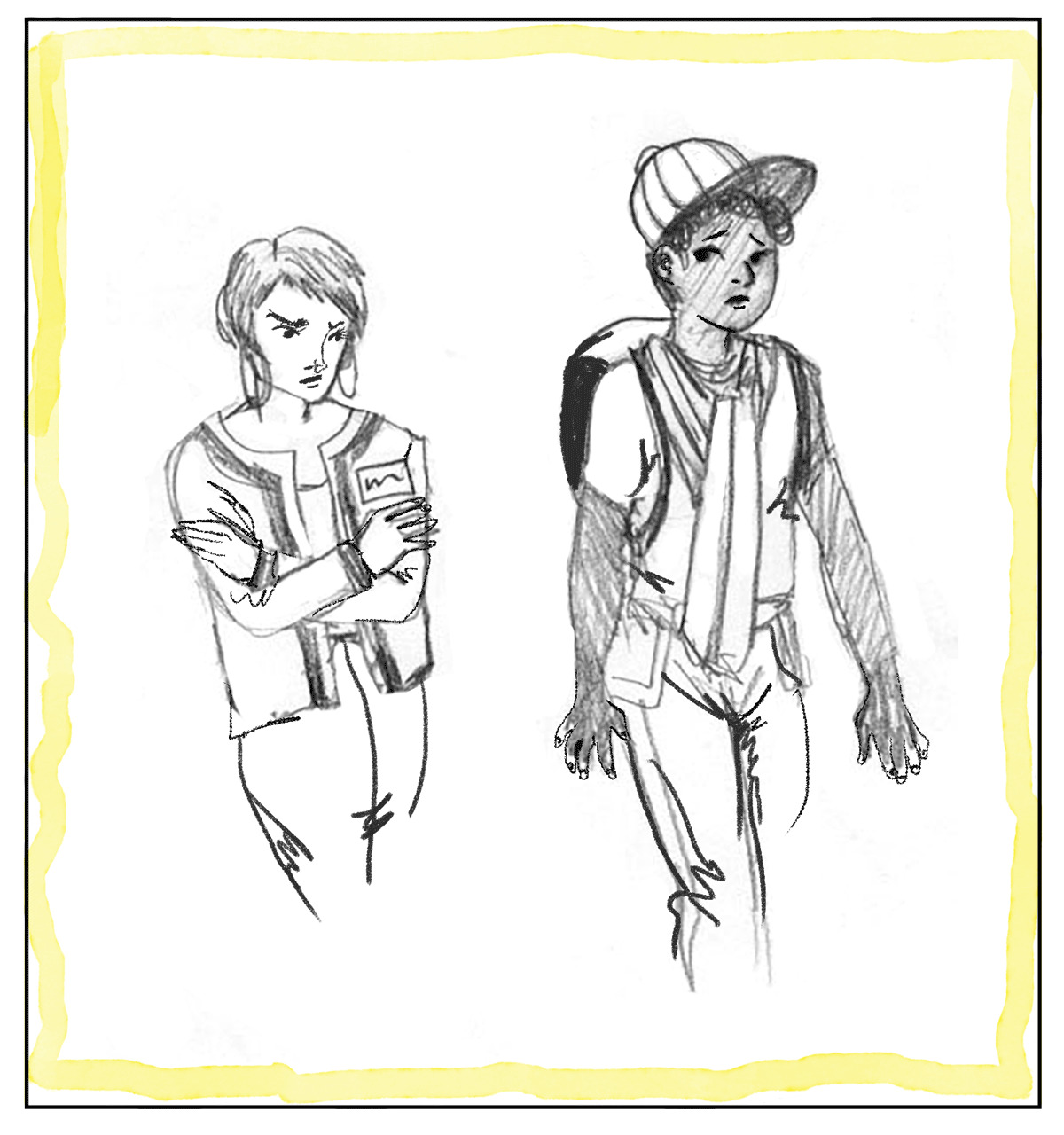An illustration of a store clerk following a black teen with a backpack.