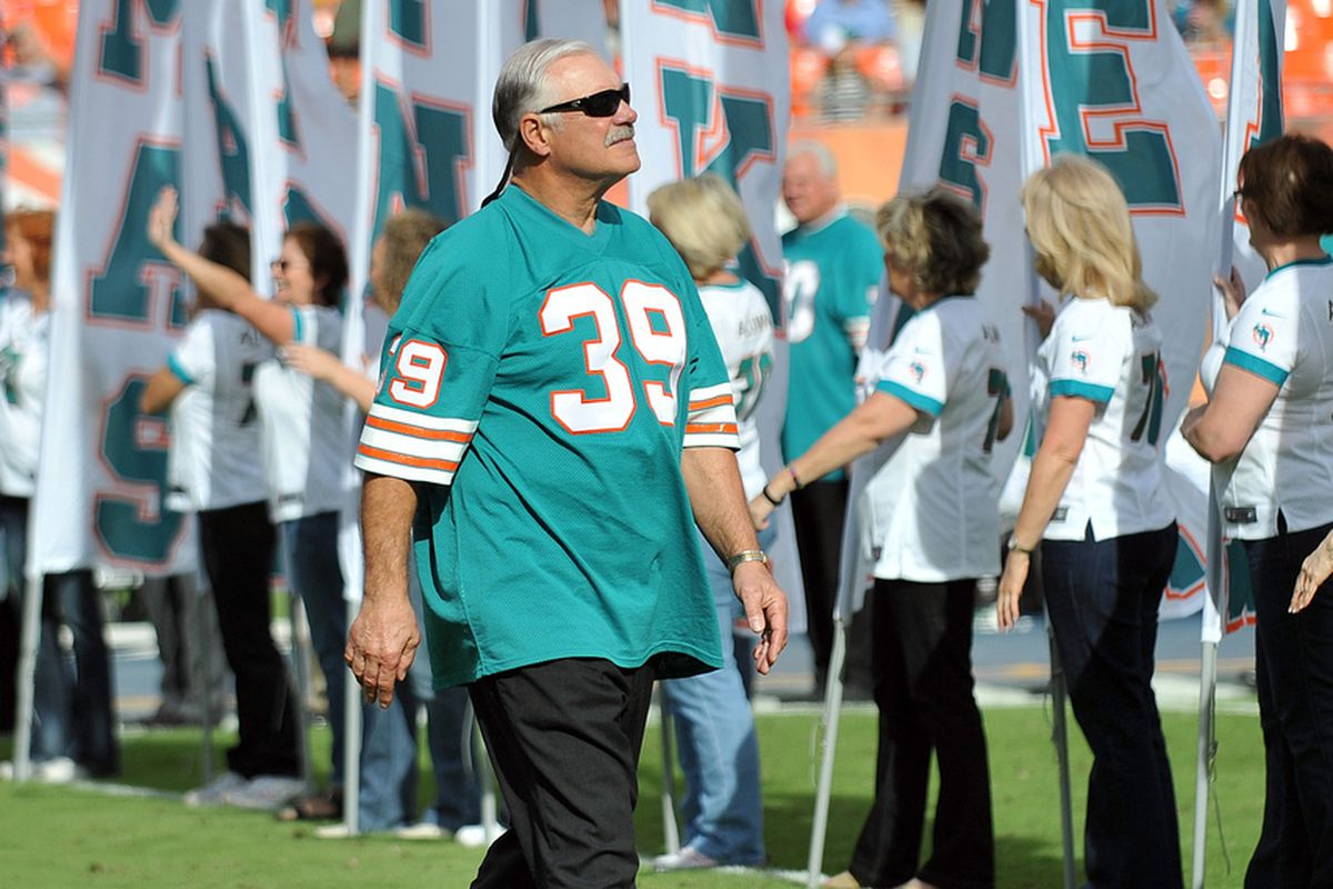 Nov.16, 2012; Miami, FL, USA; Former Miami Dolphins running back Larry Csonka (39) is celebrating the 40th anniversary of the Perfect Season during a half time show during a game against the Jacksonville Jaguars at Sun Life Stadium. The Dolphins won