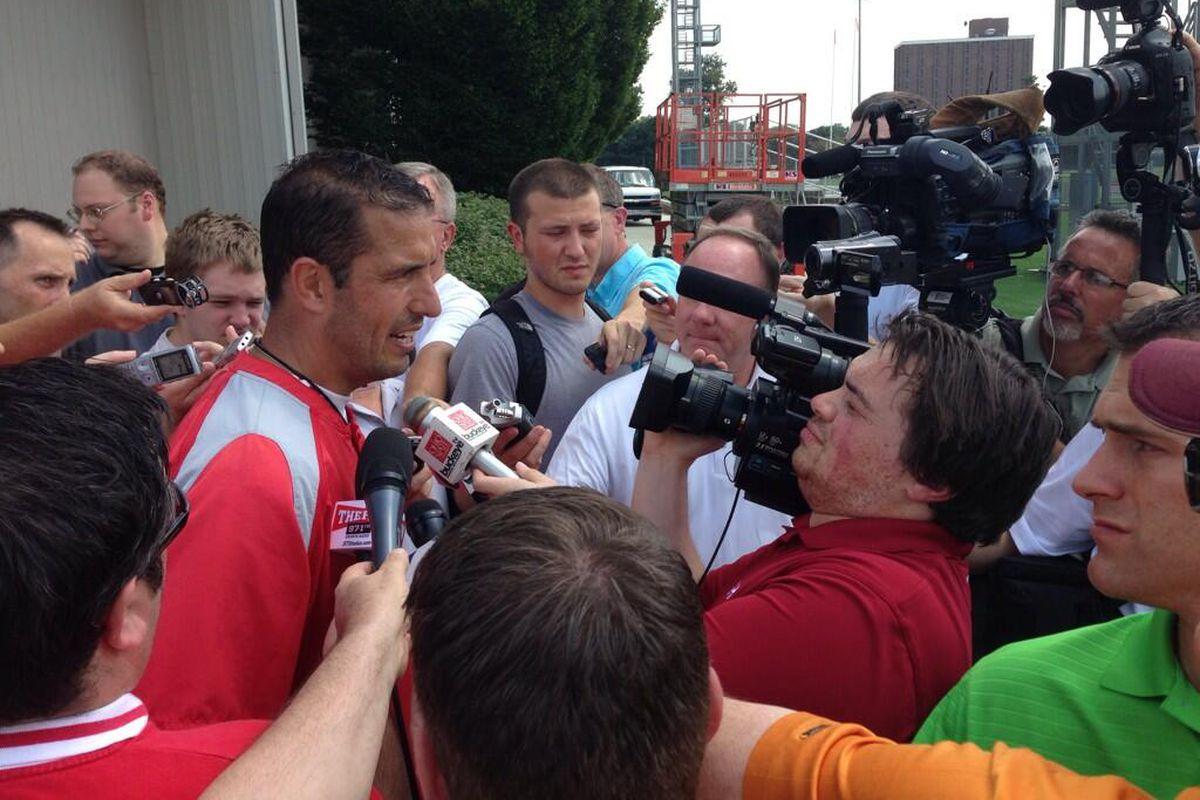 Ohio State DC Luke Fickell speaks to the media