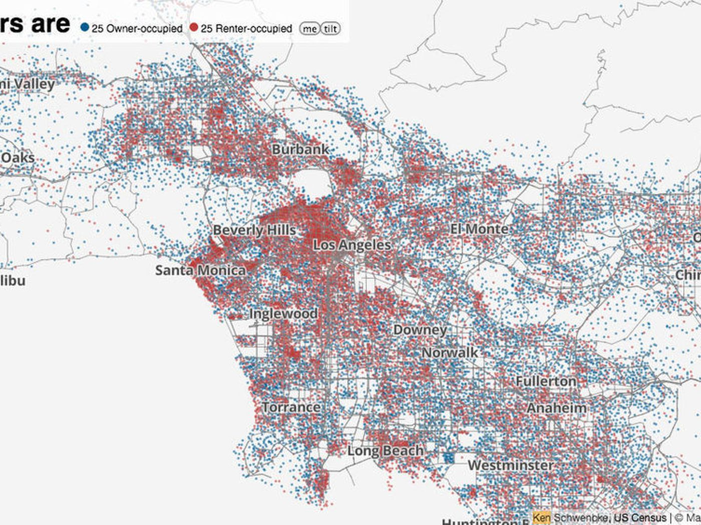 Mapping Los Angeless LowestintheCountry Homeownership Curbed LA - Los angeles dma map