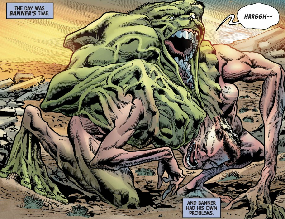 hulk and bruce banner appear to melt into each other