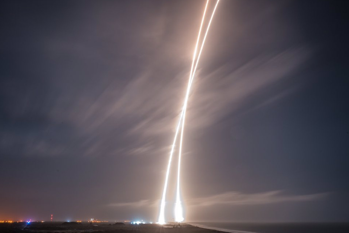 This long-exposure image from Elon Musk's SpaceX shows Falcon 9's ascent — and the rocket's landing.