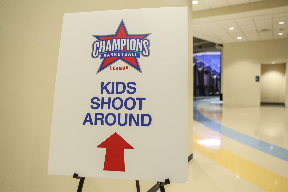 A sign for a kids shootaround