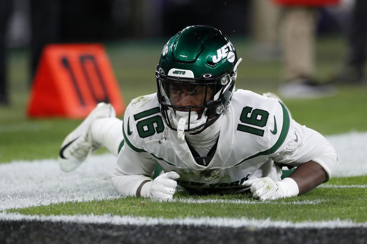 Wide receiver Jeff Smith #17 of the New York Jets lays on the field after a play during the second quarter against the Baltimore Ravens at M&T Bank Stadium on December 12, 2019 in Baltimore, Maryland.