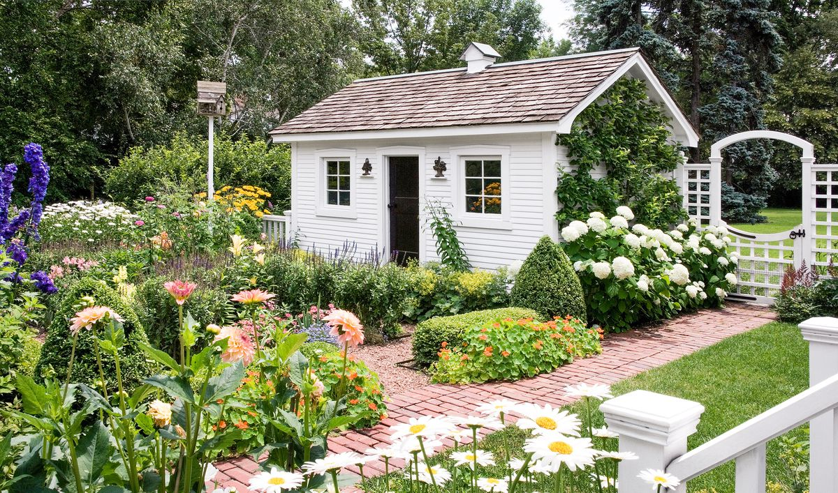 Flowers And Shrubs Border White Garden Shed