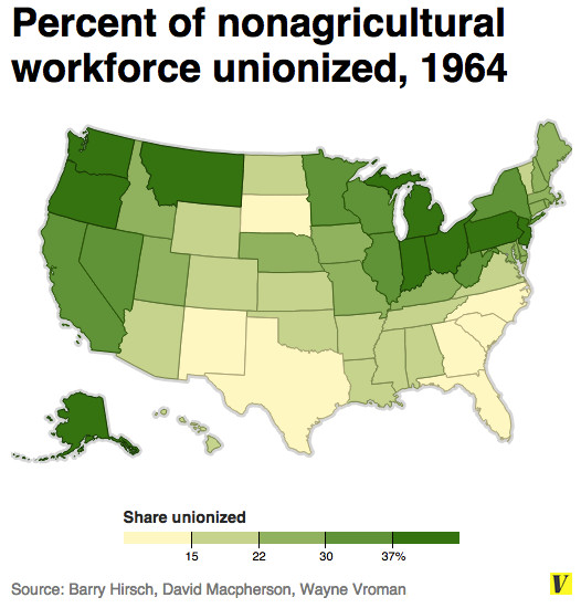 Union density by state 1964