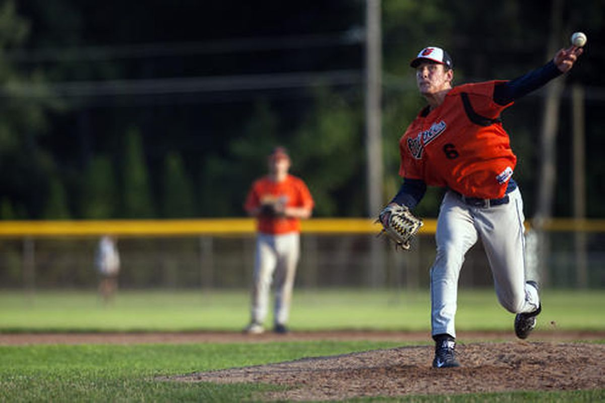 Tyler Olander delivers a pitch for the Hartford Twilight League's Vernon Orioles