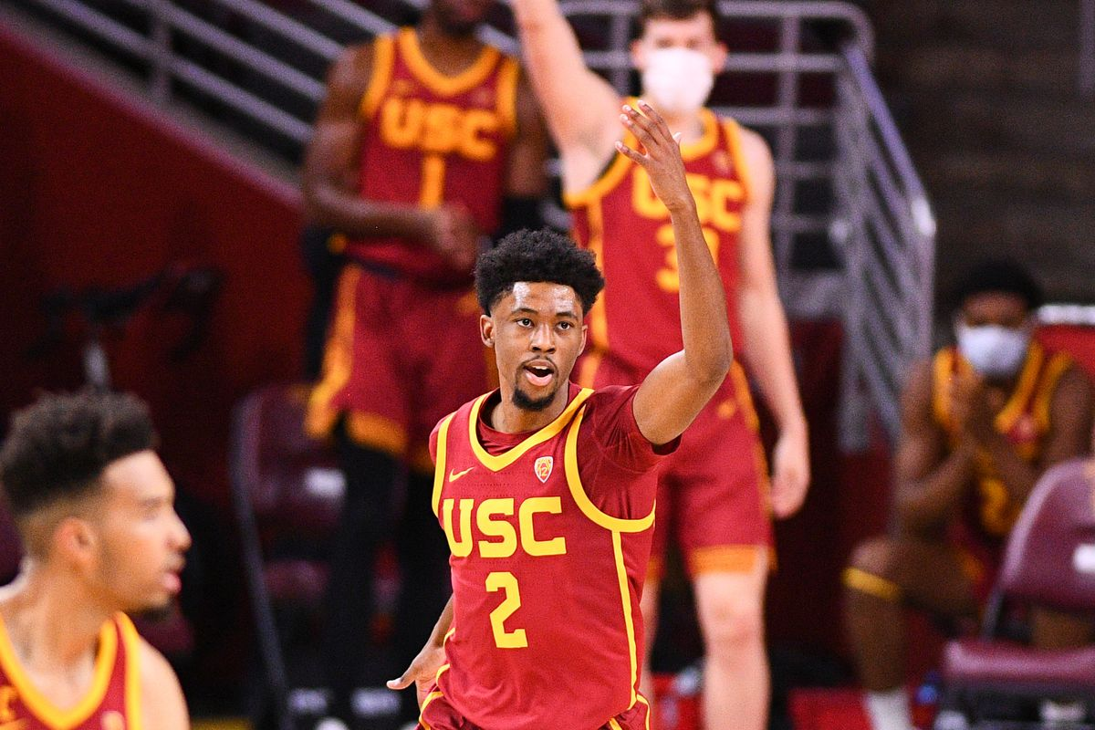 USC Trojans guard Tahj Eaddy celebrates a shot during the college basketball game between the UCLA Bruins and the USC Trojans on February 6, 2021 at Galen Center in Los Angeles, CA.