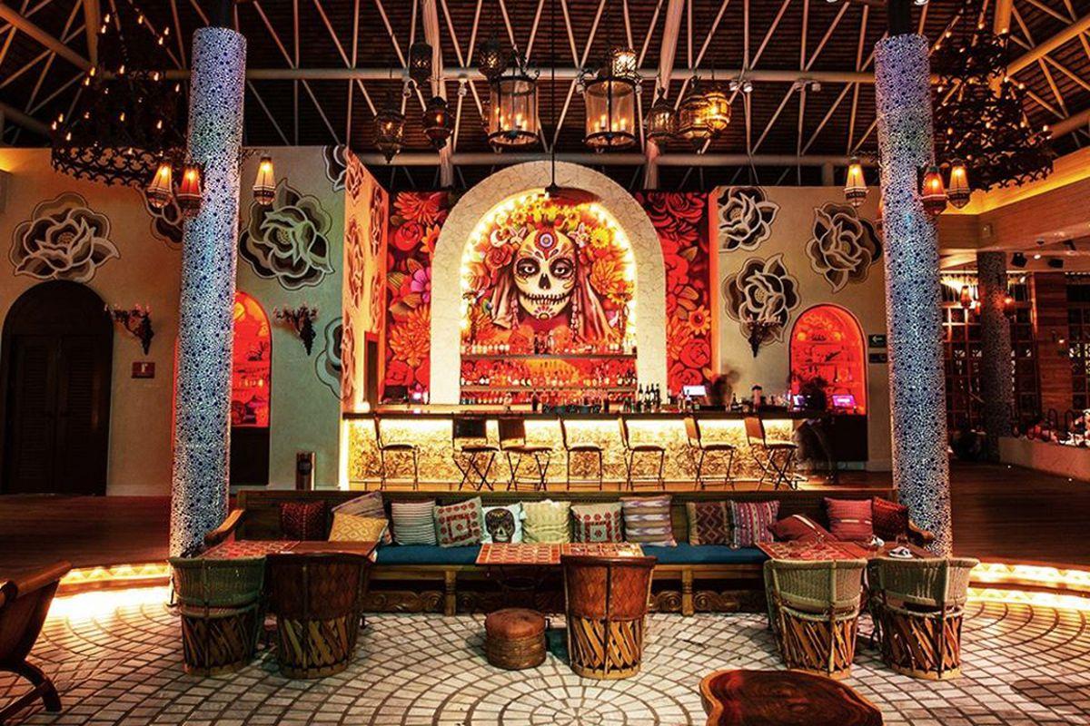 The Día de los Muertos-themedMexican restaurant Casa Calavera Los Cabos, created by the Hakkasan Group.