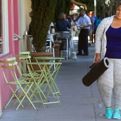 Scoop neck tee in grape squeeze, $10; leisure jacket in gray space dye heather, $27.99; leisure jogger in gray space dye heather, $24.99